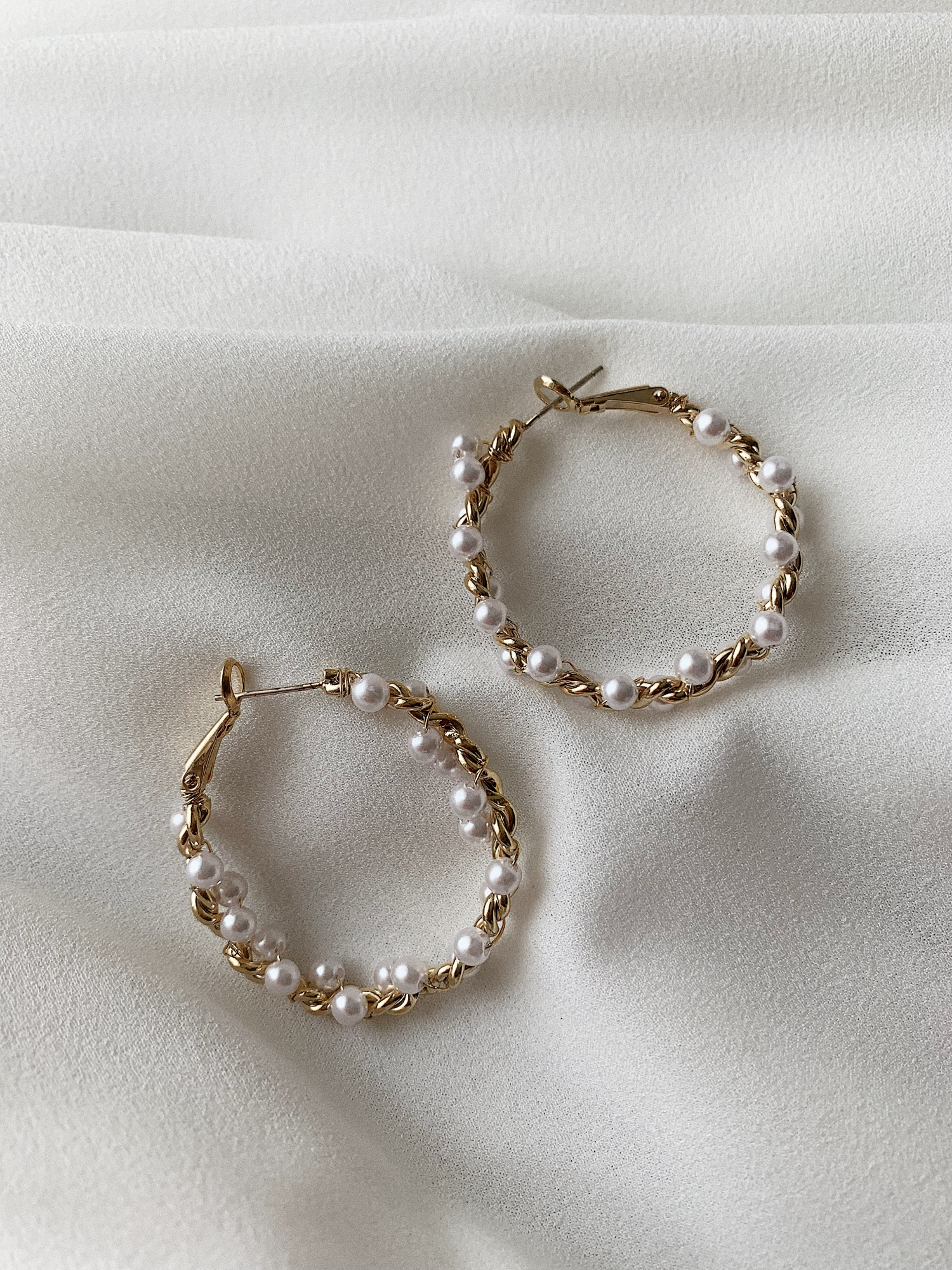 Серьги-кольца с жемчужинами